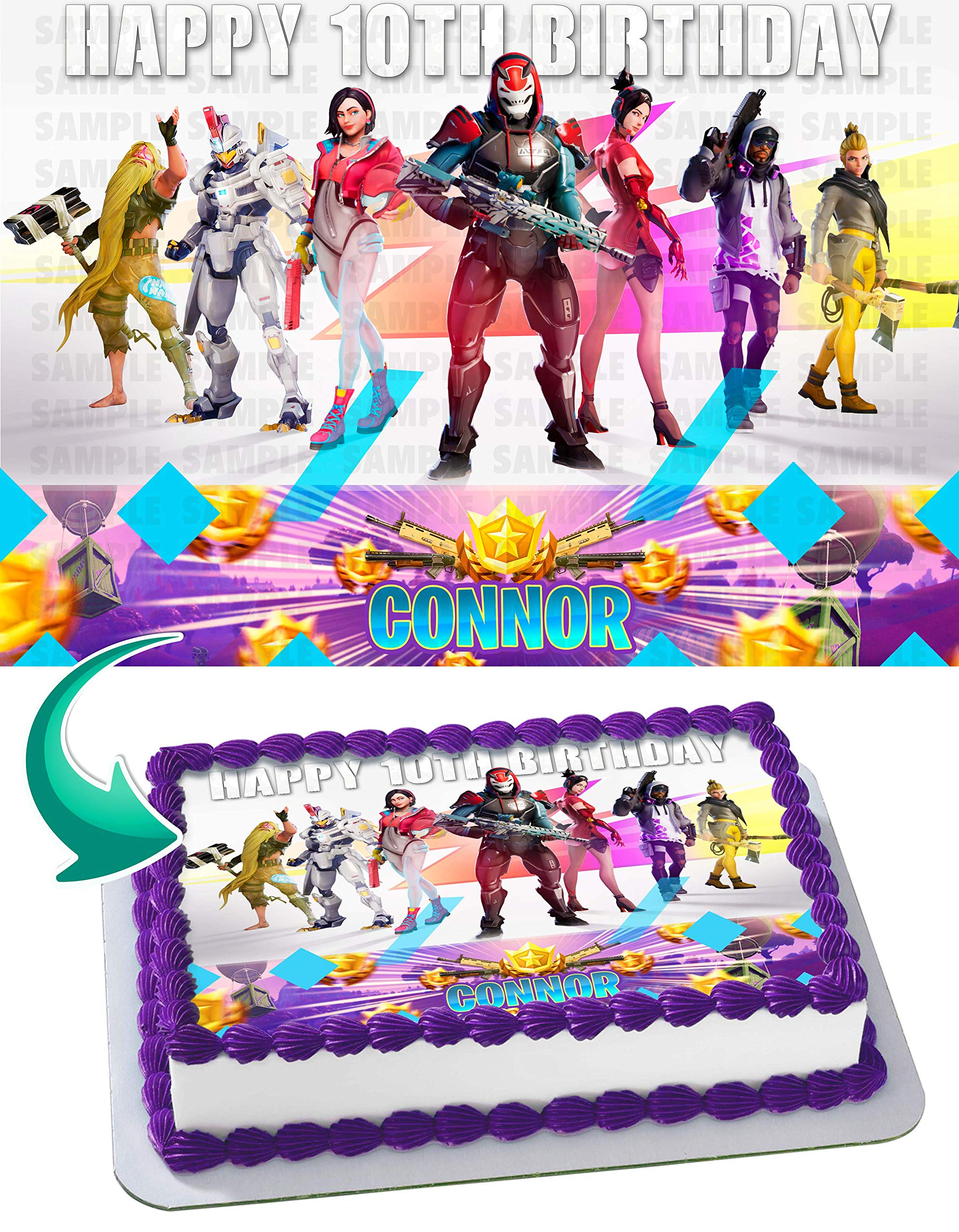 Battle Royale Edible Cake Topper Personalized Icing Sugar Paper A4 Sheet Edible Frosting Photo Cake 1/4 ~ Best Quality Edible Image for cake KL31