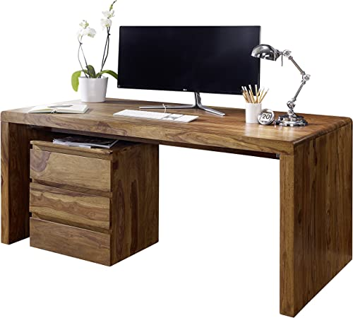 Wohnling escritorio de madera sheesham Ordenador Mesa 120 cm de ...