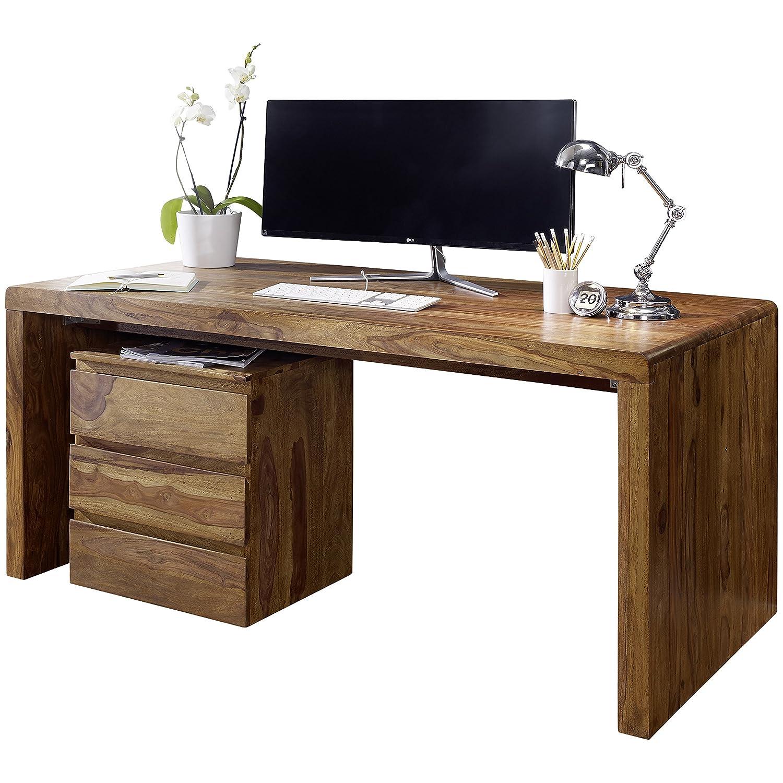 Schreibtischplatte holz  Wohnling Schreibtisch, Holz, Brown: Amazon.co.uk: Kitchen & Home