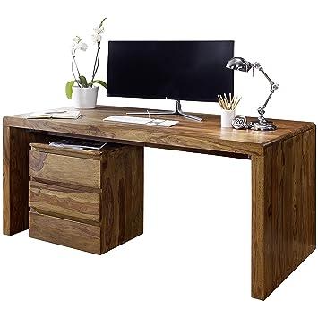 Schreibtischplatte massivholz  Wohnling Schreibtisch Boha Massiv-Holz Sheesham Computertisch 140 cm ...