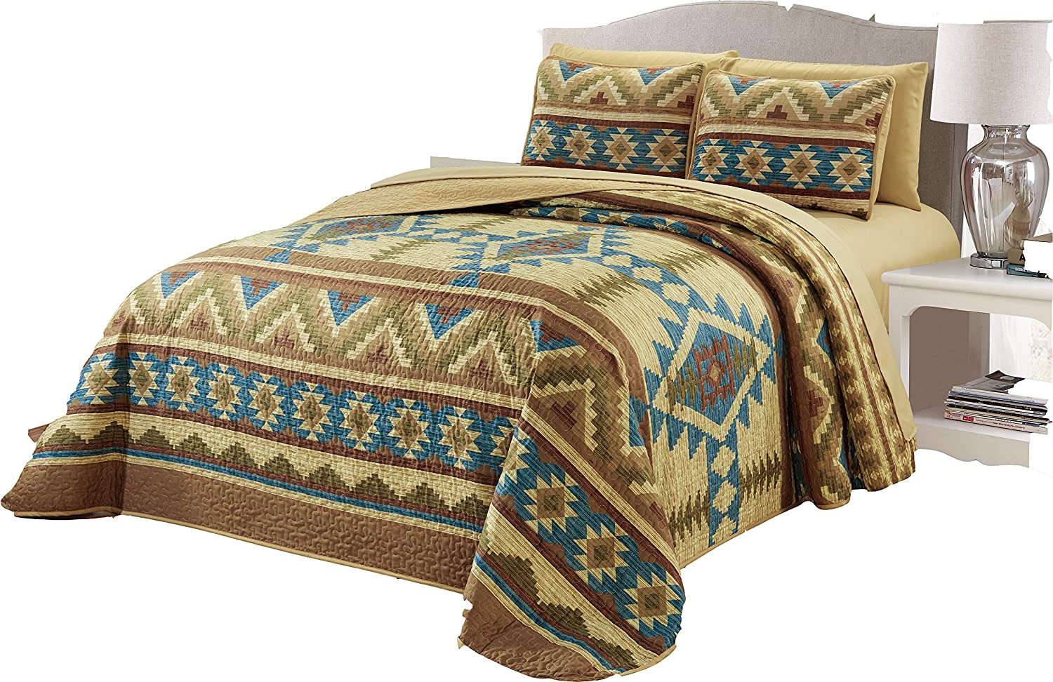 Cal.king Micasa 7 Piece Oversized Bedspread Quilt Set with Complete Sheet Set Western Southwestern Native American Tribal Navajo Design (King)