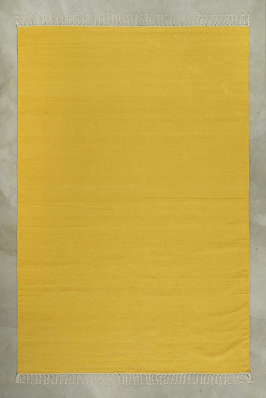 LIFA LIVING Kilim Teppich   in schönen strahlenden Farben und Muster   sowohl für den Innen als auch Außenbereich   100% Baumwolle   Farb und Größen Variationen   (Gelb, 160 x 230 cm)
