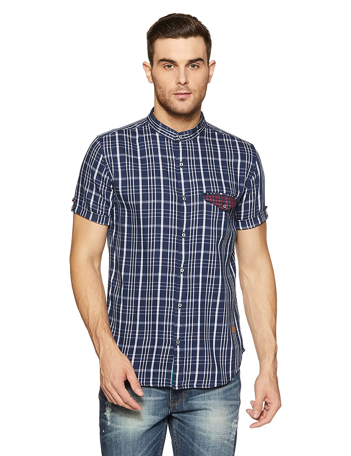 UCB Men's Checkered Slim Fit Casual Shirt