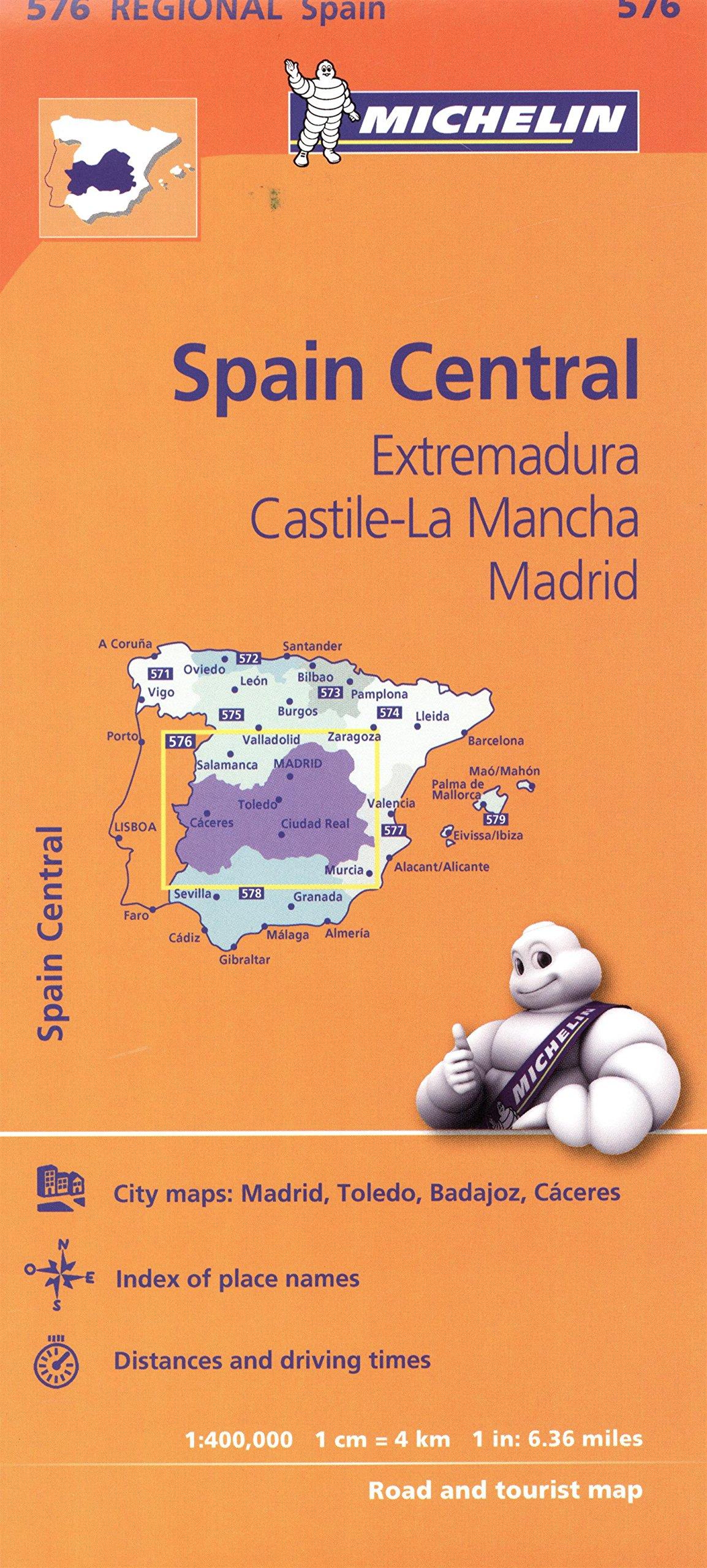 Map Of Central Spain.Michelin Spain Central Extremadura Castilla La Mancha Madrid Map