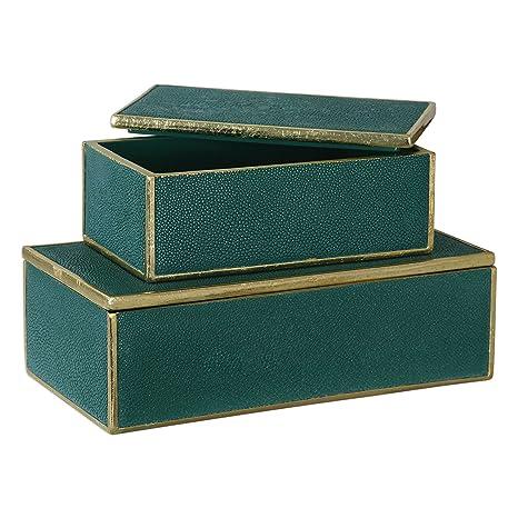 La cajas decorativas cajas de Karis verde esmeralda S/2