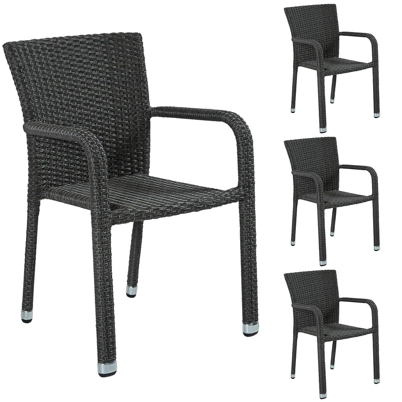 4 Gartenstühle Stapelstühle Polyrattan grau Gartenset stapelbar Balkonstühle