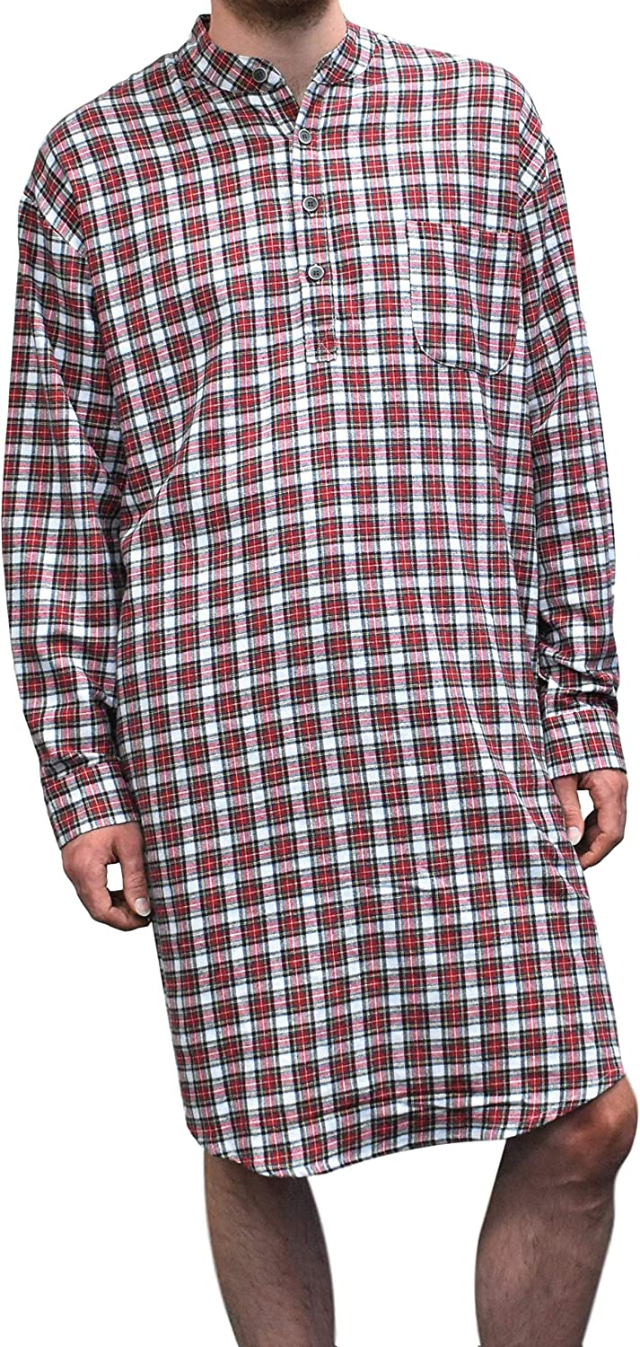 Lee Valley Men's Genuine Irish Cotton Flannel Nightshirt