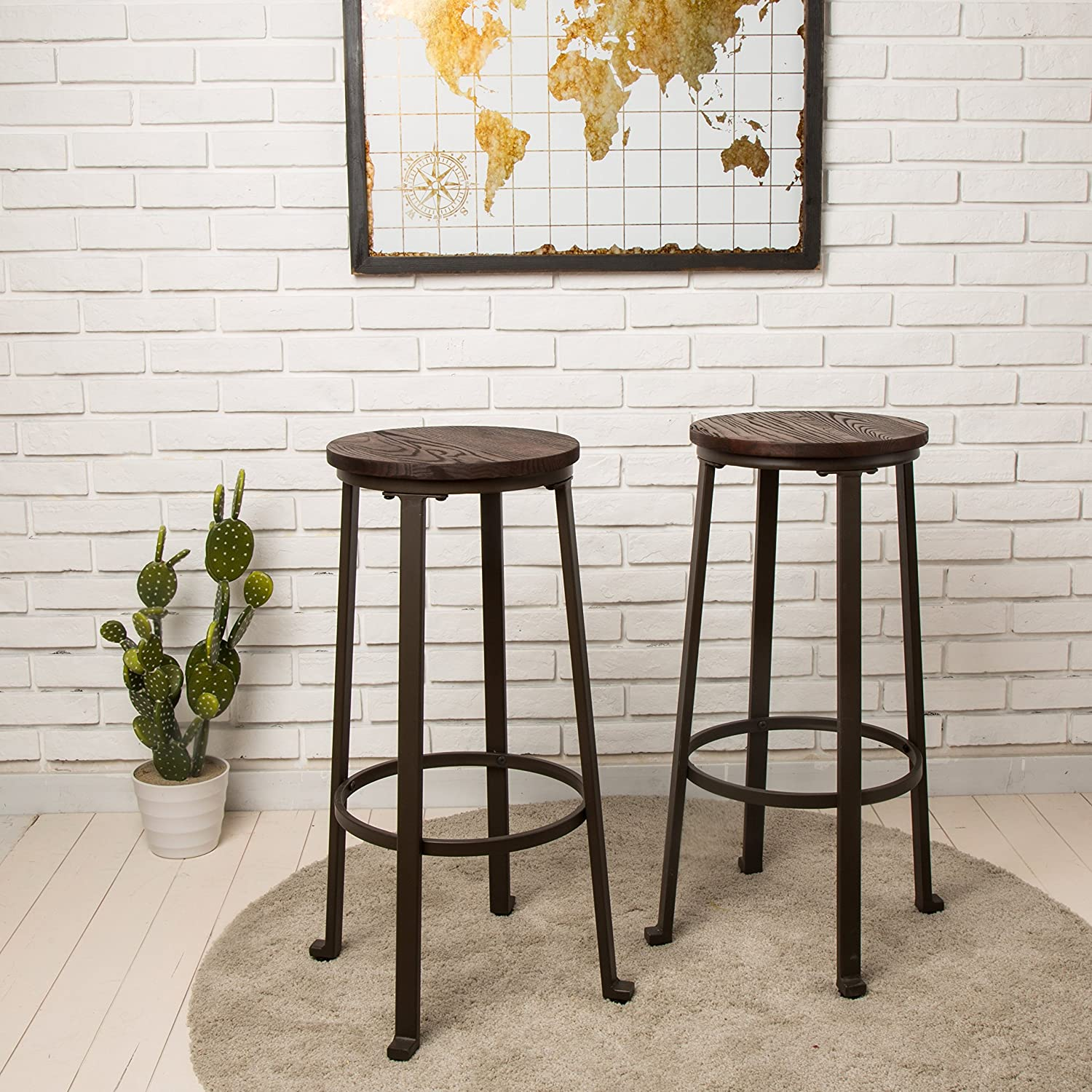 Glitzhome Rustic Steel Bar Stool Round Wood Top Dining Room Pub Chairs Set of Two