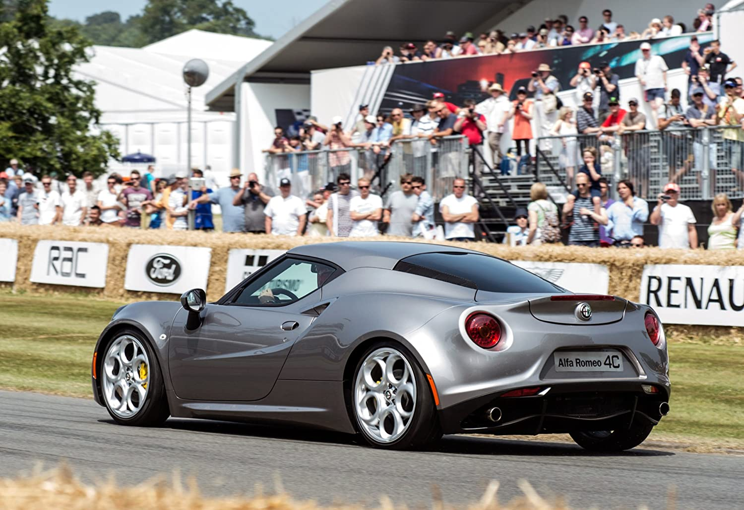 """Alfa Romeo 4C Goodwood Festival of Speed (2013) Car Art Poster Print on 10 mil Archival Satin Paper Silver Rear Side Motion View 36""""x24"""""""