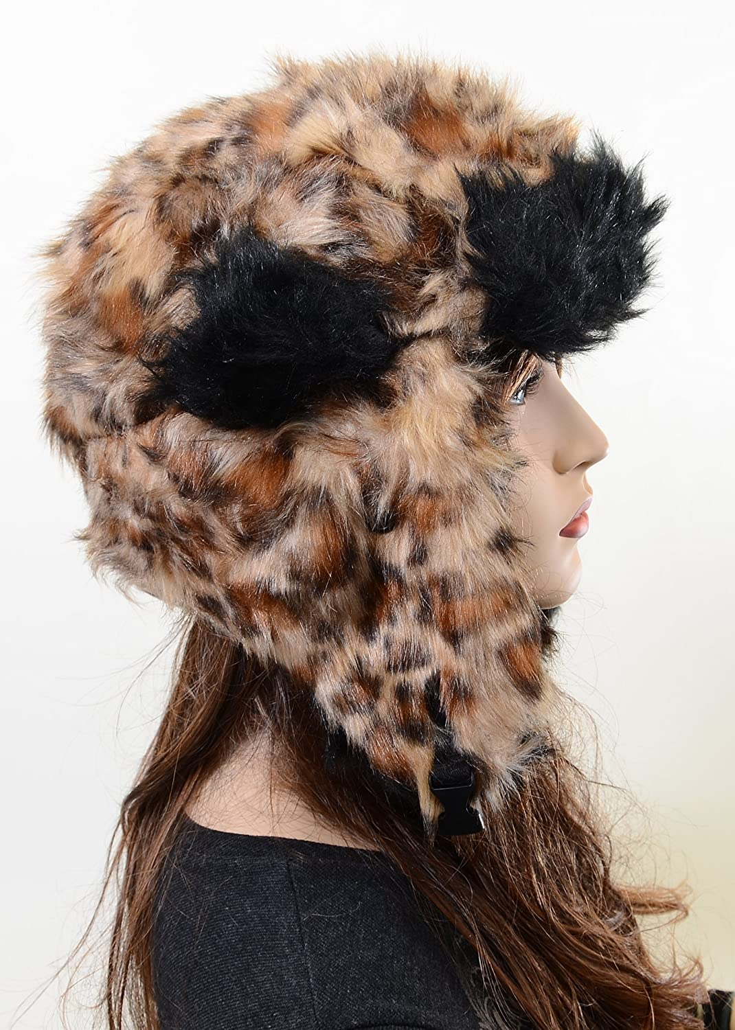 eb10f8d1683 Amazon.com  Furry All Over Vegan Friendly Leopard Cold Weather Ushanka  Trapper Hat  Clothing