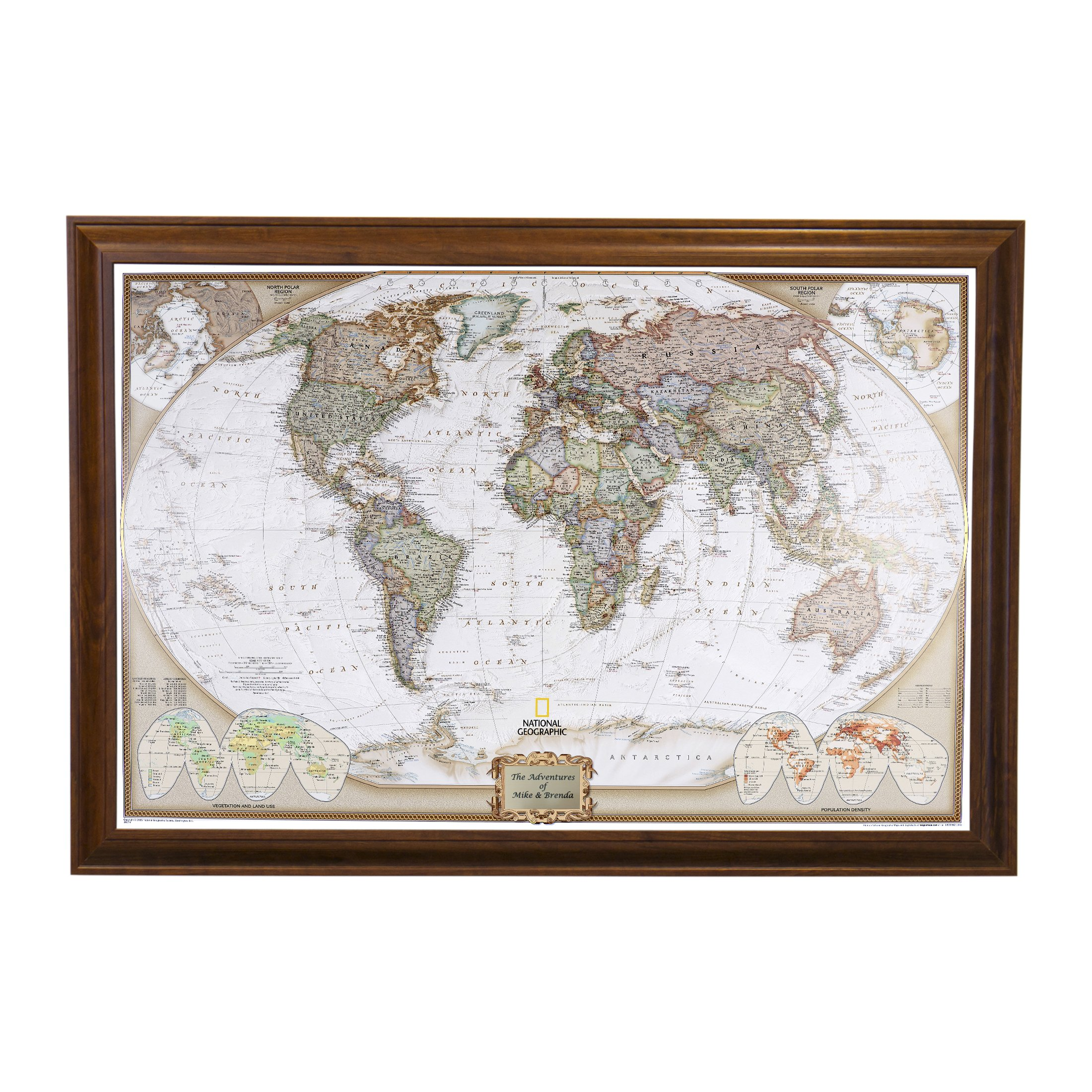 Personalized Executive World Push Pin Travel Map with Brown Frame and Pins 24 x 36