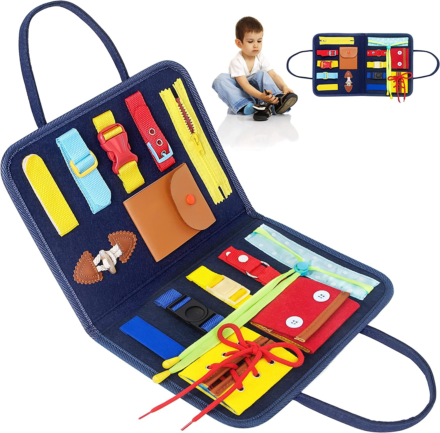 PERSONALIZED XXL Busy Board 19in1 MONTESSORI House with light Educational Activity Sensory busyboard for toddlers Wooden toy