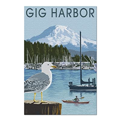 Gig Harbor, Washington - Day Scene (Premium 1000 Piece Jigsaw Puzzle for Adults, 20x30, Made in USA!): Toys & Games