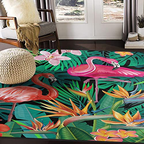 ALAZA Tropical Flower Flamingo Bird Palm Tree Hawaii Stylish Area Rug Rugs for Living Room Bedroom 5 3 x4