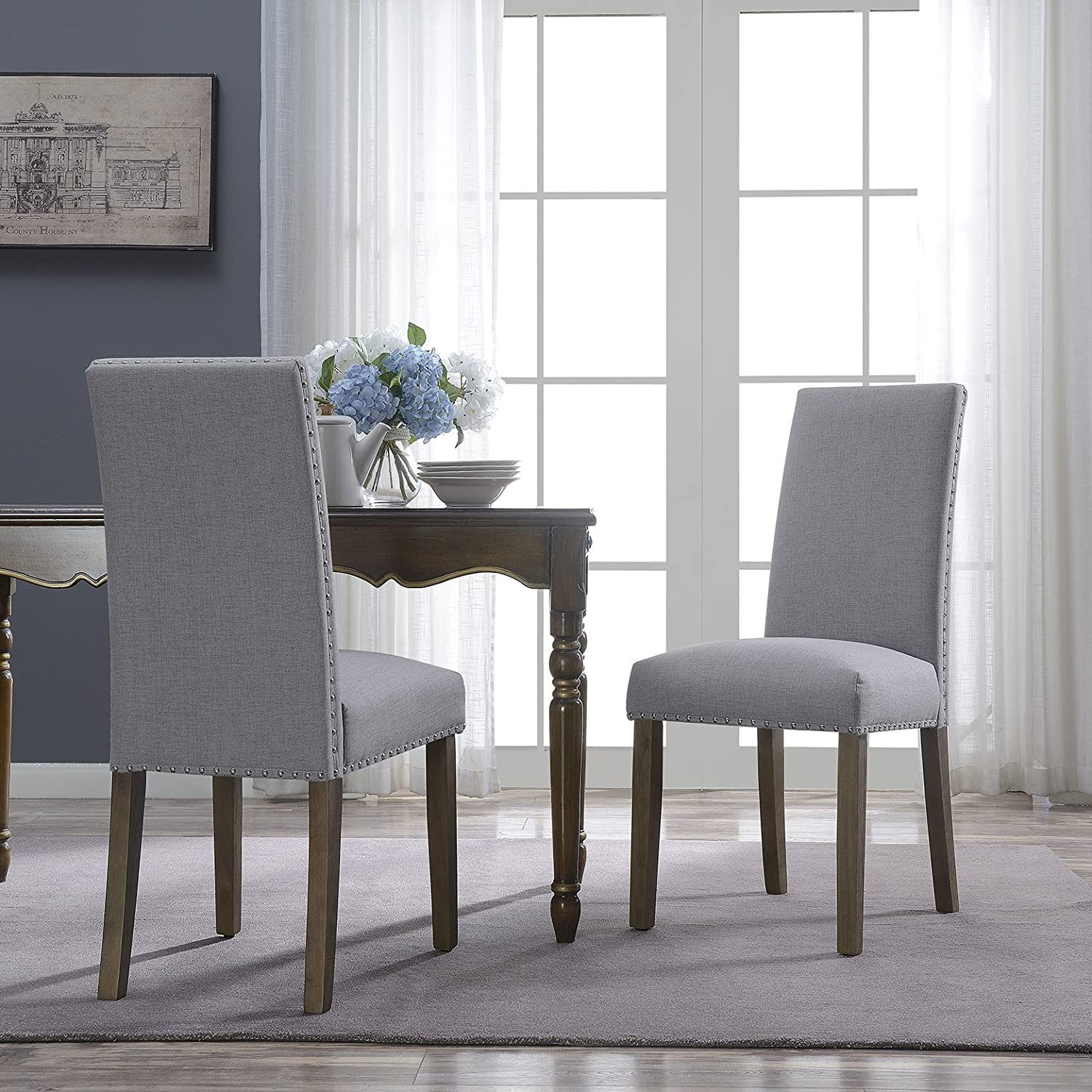 Belleze Set of 2 Dining Chairs Linen Seat Cushion Nailhead Trim Accent Elegant Side Chair Wooden Leg, Gray