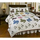 Meow Reversible Quilt Set, Traditional Patchwork-Style Cat Quilt, 3-Piece Set with Quilt and Pillow Shams - Full/Queen