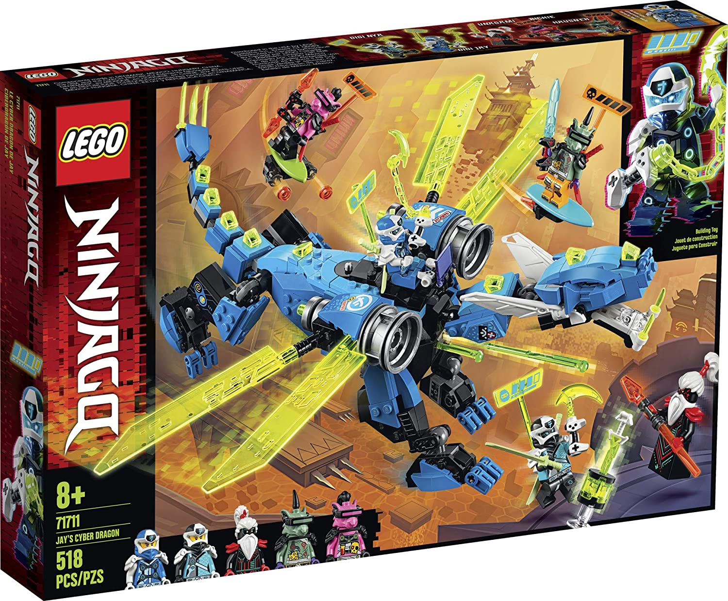 LEGO NINJAGO Jays Cyber Dragon 71711 Ninja Action Toy Building Kit, New 2020 (518 Pieces)
