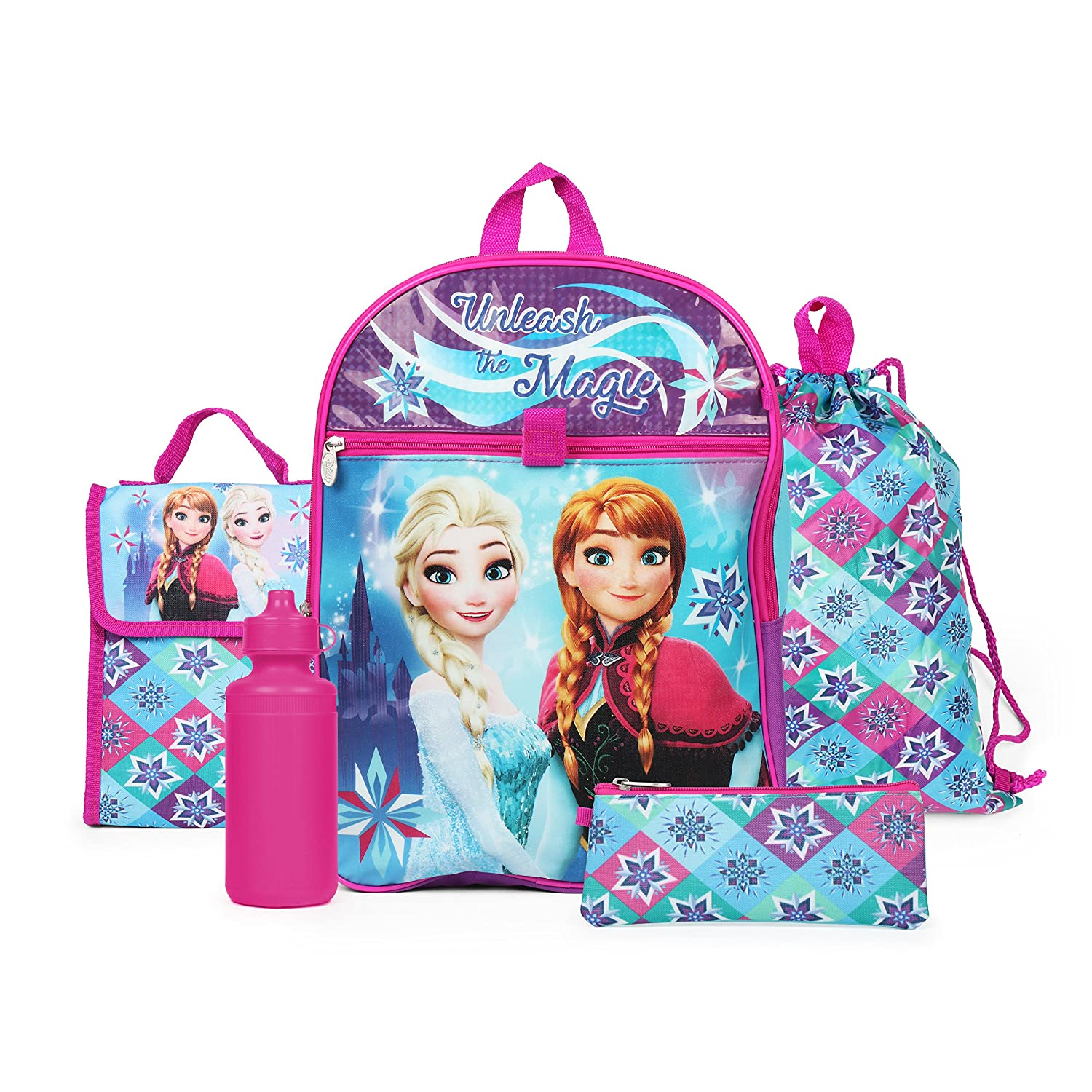 Disney Frozen Elsa and Anna Backpack 5 Piece Essentials Set