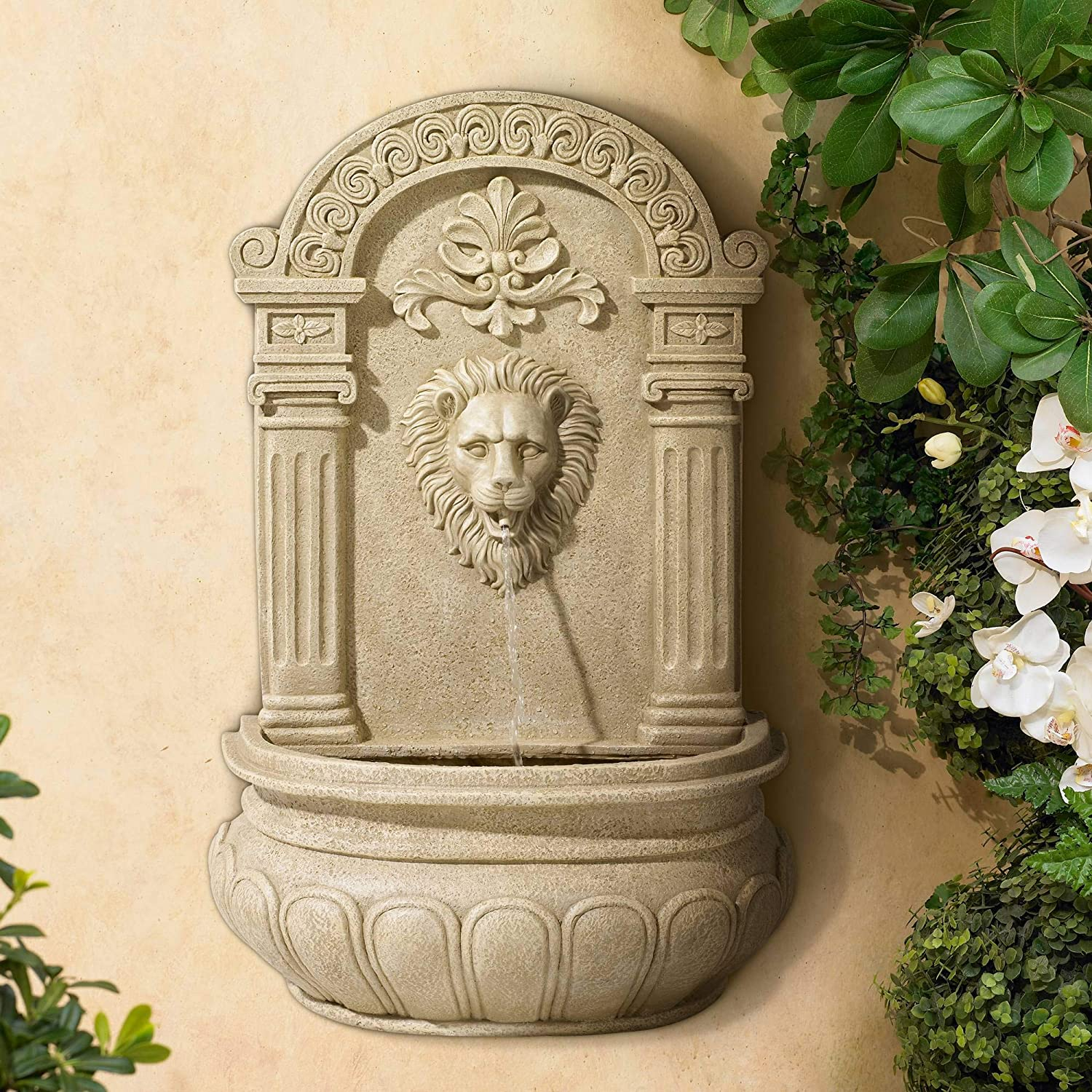 "Universal Lighting and Decor Lion Face Roman Outdoor Wall Water Fountain 31"" High for Yard Garden Patio Deck Home Entryway - John Timberland"