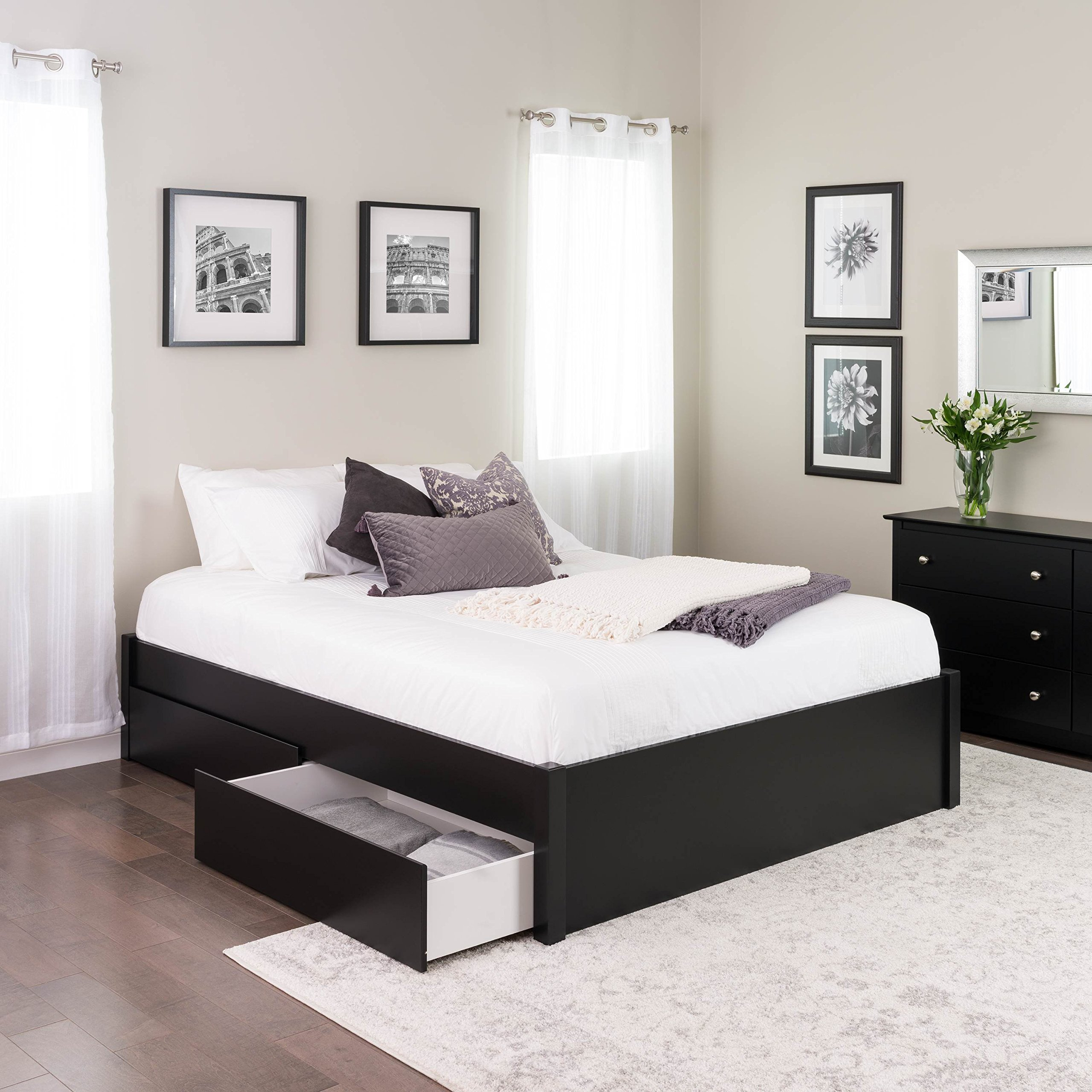Queen Select 4-Post Platform Bed with 2 Drawers, Black by Prepac