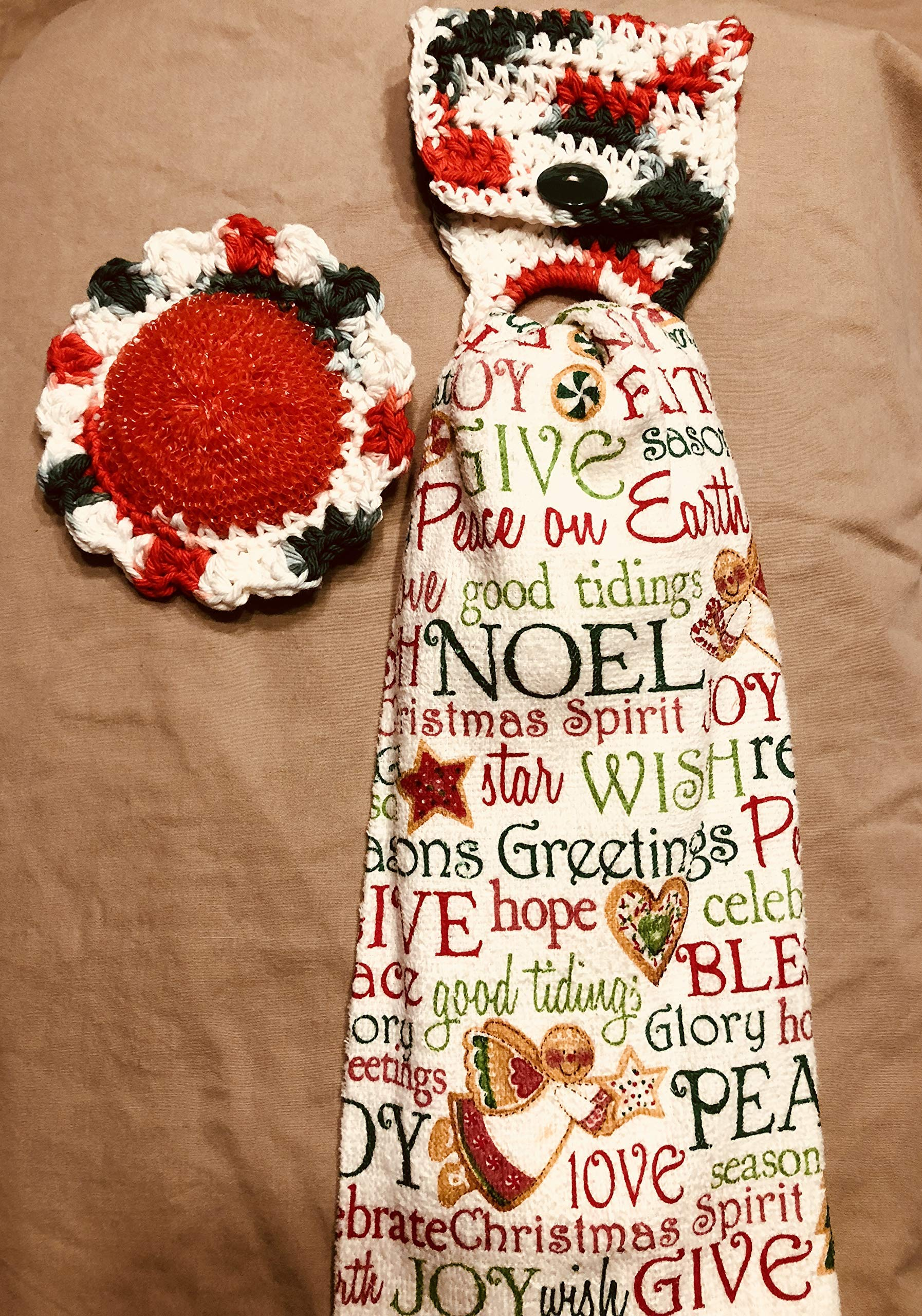 Free ship to USA - 3 piece set - Christmas Angel Words 1 CROCHET Plastic Scrubber, Towel holder & KITCHEN hand TOWEL light weight terry cloth - 100% cotton yarn