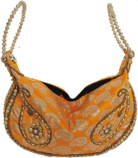 Lot of Three Bracelet Bags with Brocade Weave and Beadwork - Silk Exotic India U3T3U