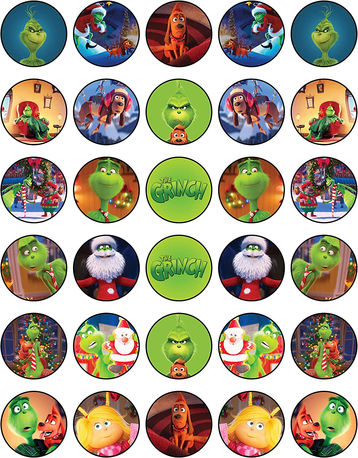 30 x Edible Cupcake Toppers – The Grinch Party Collection of Edible Cake Decorations |Edible Wafer Sheet