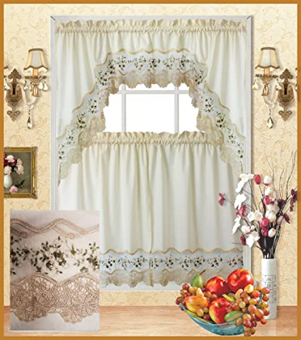 Terrific Fancy Collection 3Pc Beige With Embroidery Floral Kitchen Cafe Curtain Tier And Valance Set 001092 Beige Green Home Interior And Landscaping Palasignezvosmurscom