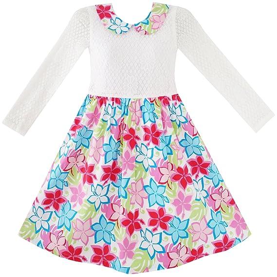Sunny Fashion Vestido para niña Encaje Collar Princesa ...