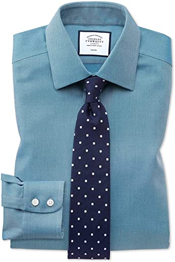 Camisa sin Plancha Verde Azulado de Tejido de Espiga Extra ...