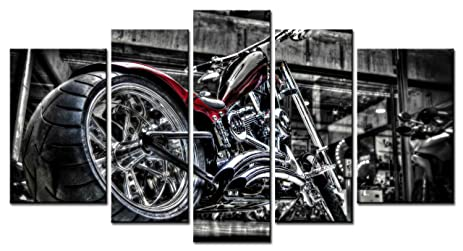SmartWallArt   Vehicle Series Home Decor Artwork Black And Bright Motorcycle  Wall Art 5 Piece Paintngs