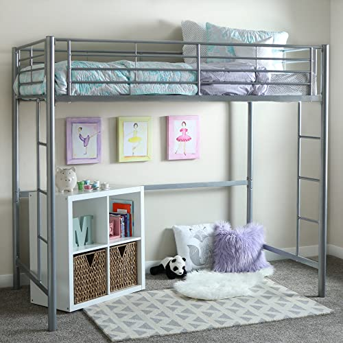 New Silver Twin Over Loft Metal Bed Frame