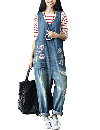 b0093571908a Yeokou Women s Loose Baggy Denim Wide Leg Jumpsuit Rompers Overalls Harem  Pants (One Size