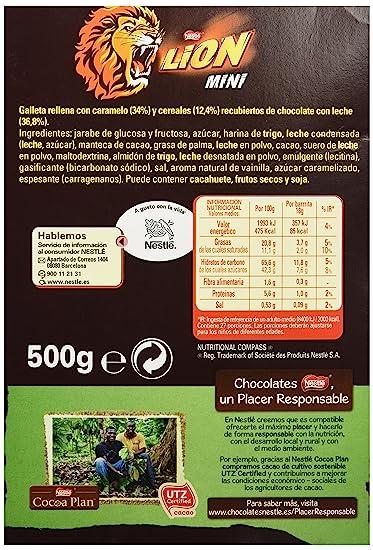 Lion Barritas Chocolate - Paquete de 27 x 18 gr - Total: 486 gr - [Pack de 3]: Amazon.es: Alimentación y bebidas