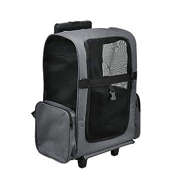 [pro.tec] Mochila / carrito para perros 2 en 1 - transportín para perros y gatos (gris) - con 4 ruedas: Amazon.es: Productos para mascotas