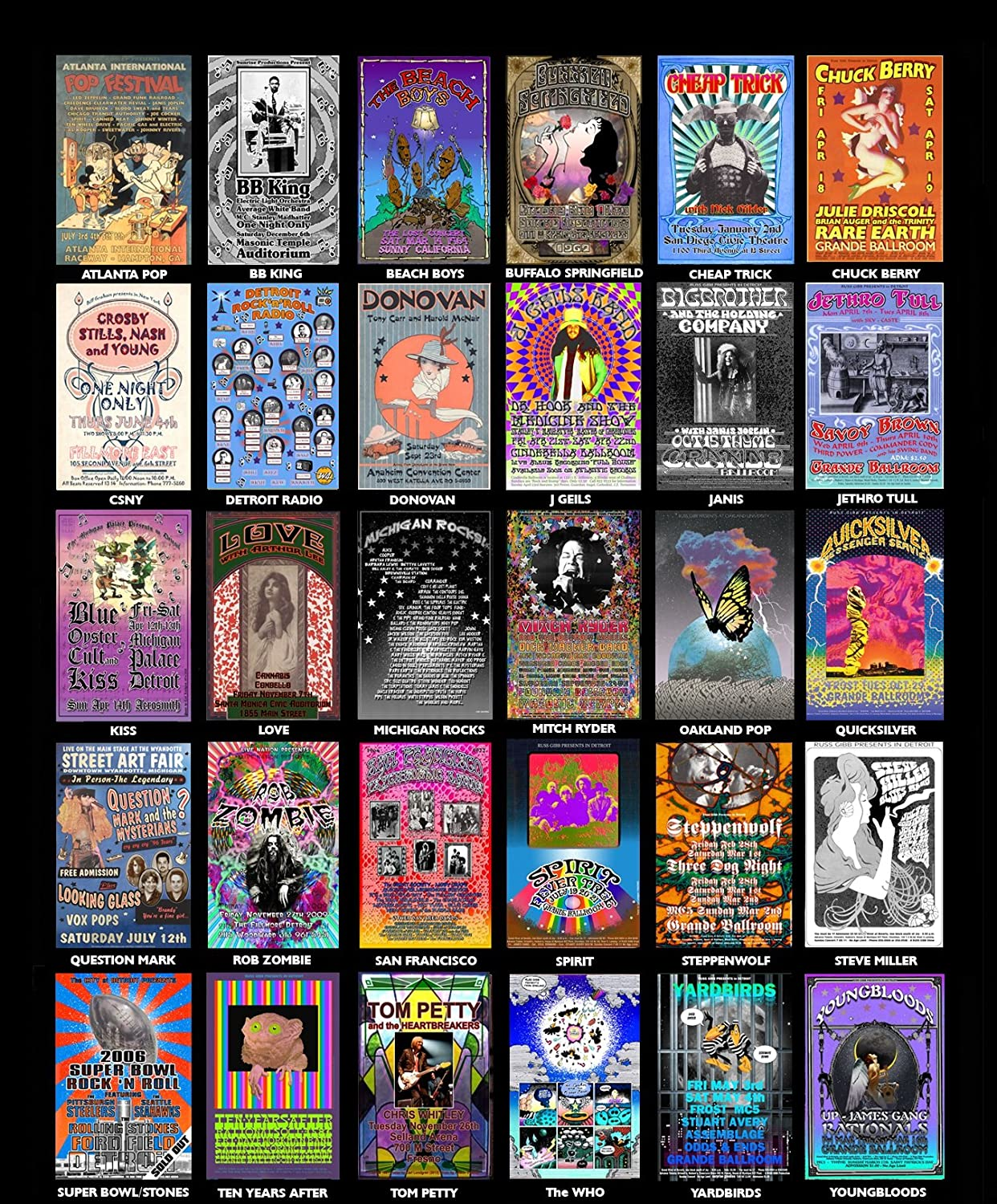 Saugatuck MC5 Amboy Dukes Bob Seger Stooges Concert 1969 Poster 13 X 19 Ready for Display Bagged and Boarded by Grande Ballroom Poster Artist Carl Lundgren Printed in Detroit MI USA Shipped Flat