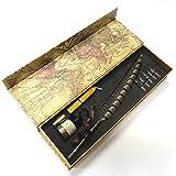 Penna d'Oca da Scrittura GC Piuma Antica Stelo Penna Ramato Pennino Metallico Penna d'Oca da Scrittura PA-14