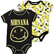 Nirvana Baby Boys' 2 Pack Bodysuit Smiley Face Logo Black/Yellow 3-6M