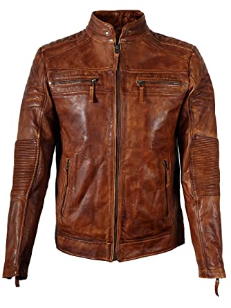 Cavani Leathers Mens Brown Leather Jacket Motorcycle Cafe Racer