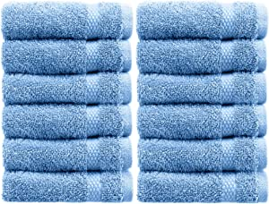 White Classic Luxury Cotton Washcloths - Large Hotel Spa Bathroom Face Towel | 12 Pack | Light Blue