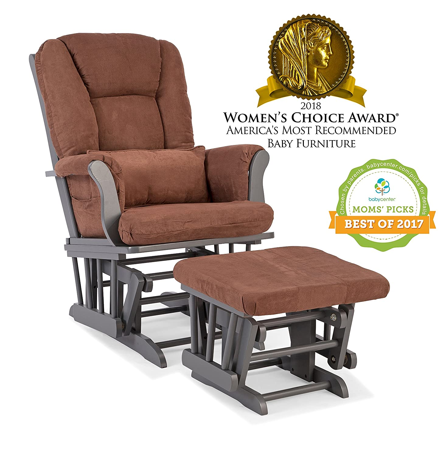Awesome Storkcraft Tuscany Custom Glider And Ottoman With Free Lumbar Pillow Gray Chocolate Squirreltailoven Fun Painted Chair Ideas Images Squirreltailovenorg