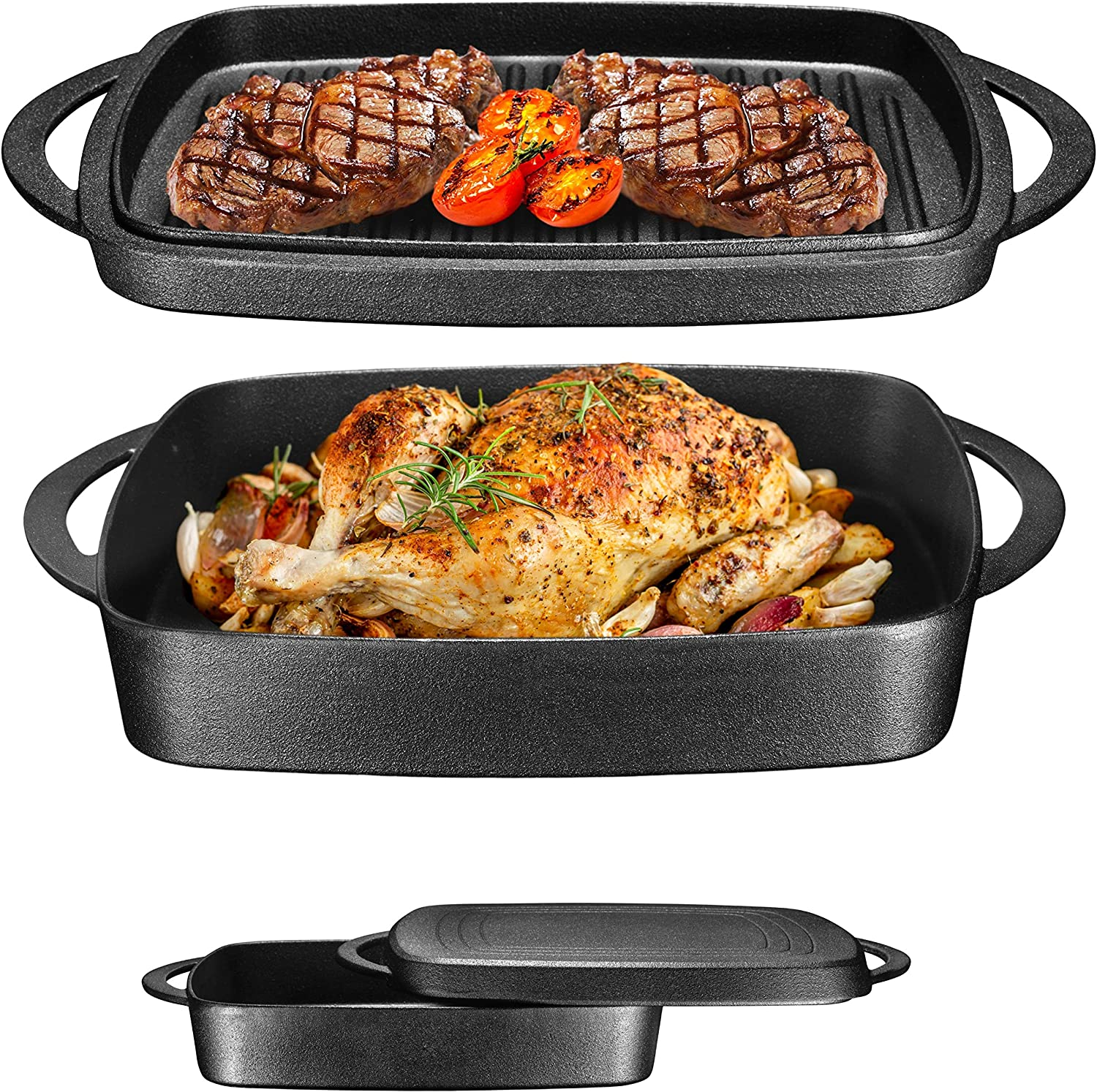 Pre-Seasoned Cast Iron Square Casserole Baker With Griddle Lid 2 in 1 Multi Baker Dish 10