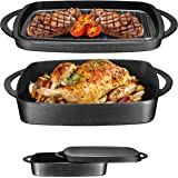 Pre-Seasoned Cast Iron Square Casserole Baker With Griddle Lid 2 in 1 Multi Baker Dish 10""