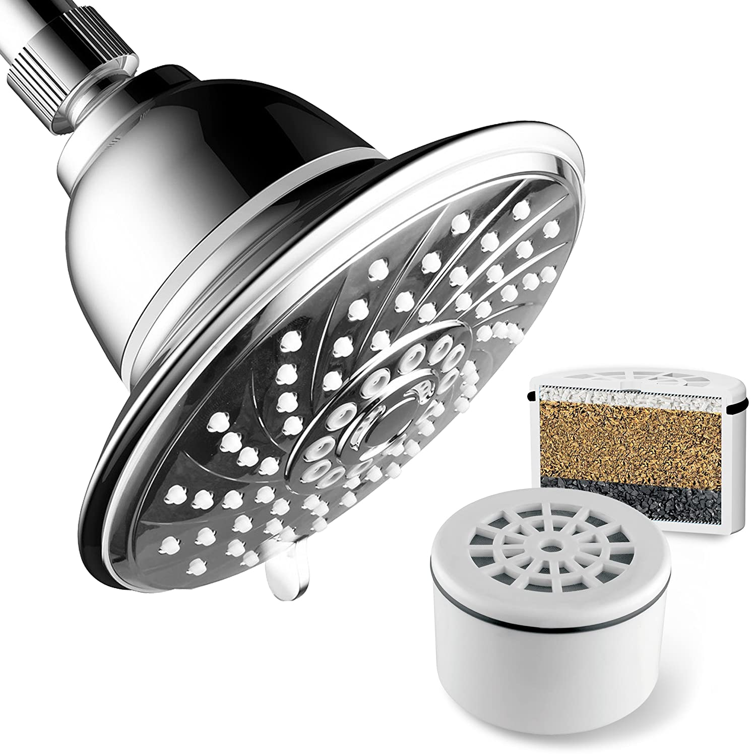 HotelSpa 2143 Extra-Large 6 Inch 6 Setting Head with New and Improved 3 Stage Shower Filter Cartridge Inside