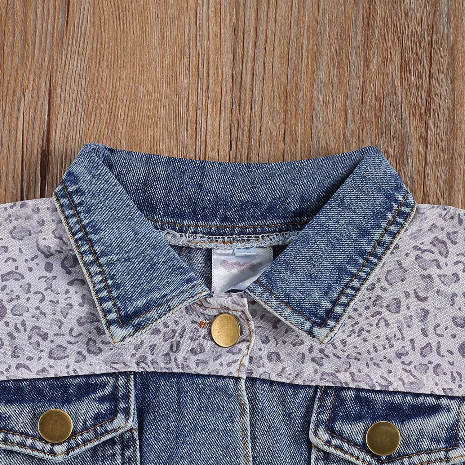 JIUJIUMI Baby and Toddler Girls Denim Jacket Long Sleeve Leopard Patchwork Button Down Jean Coat Fall Winter Clothes Outfit