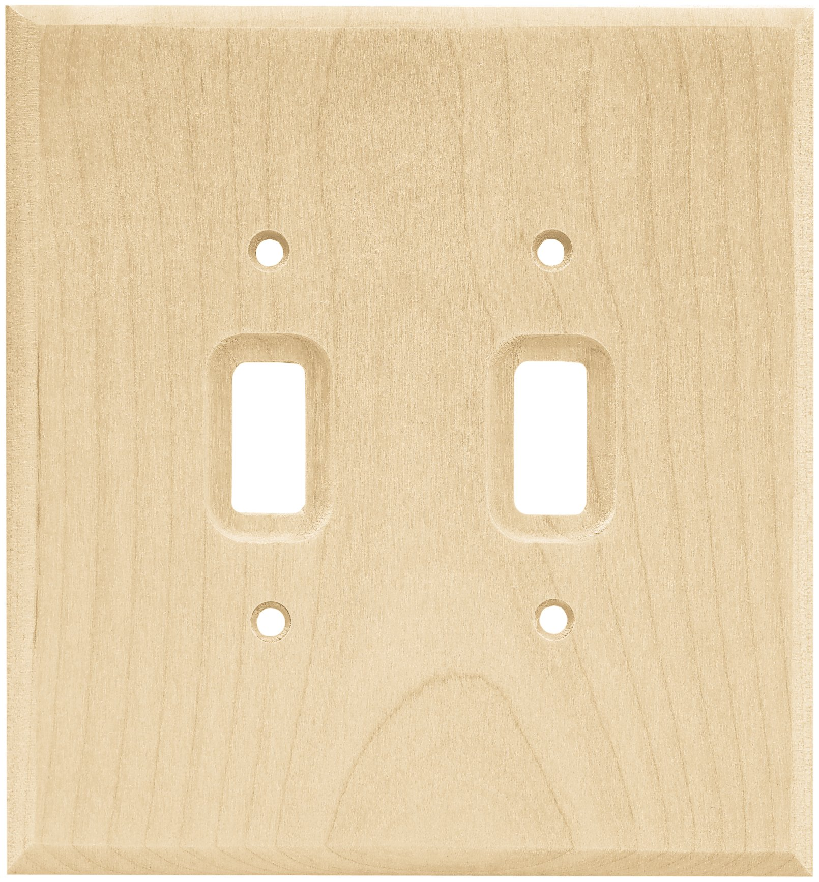BRAINERD 64656 Wood Square Double Toggle Switch Wall Plate/Switch Plate/Cover, Unfinished Wood