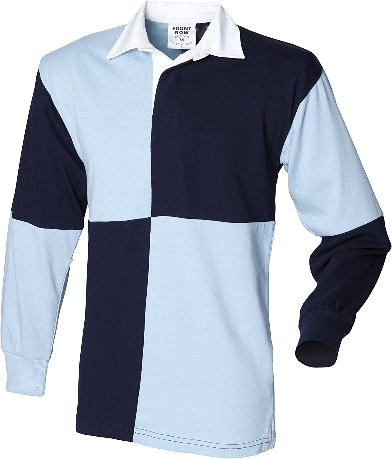 Front Row Mens Co Quartered Rugby 100/% Cotton Long Sleeve Collar Polo Neck Shirt