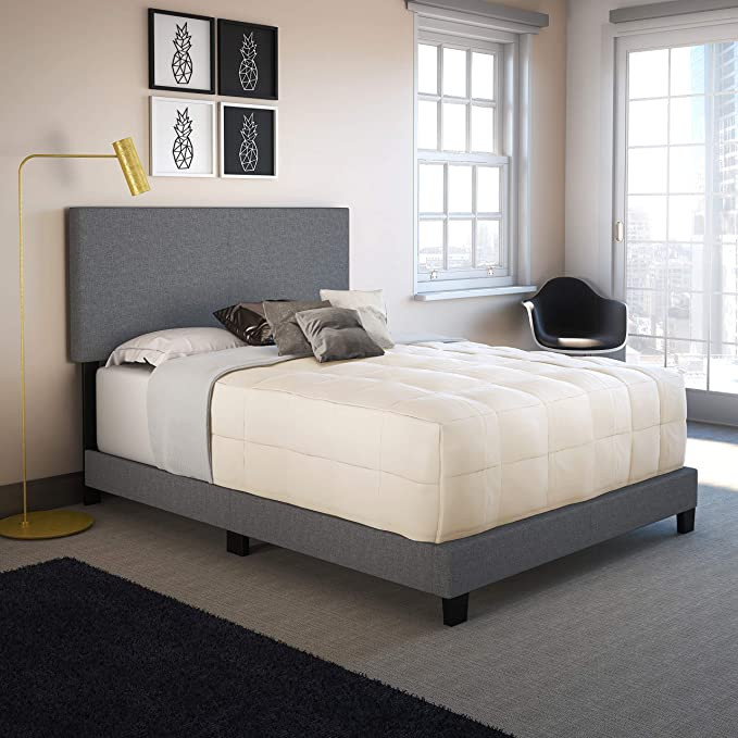 Boyd Sleep Montana Upholstered Platform Bed Frame Mattress Foundation with Headboard and Strong Wood Slat Supports: Linen, Grey, Queen