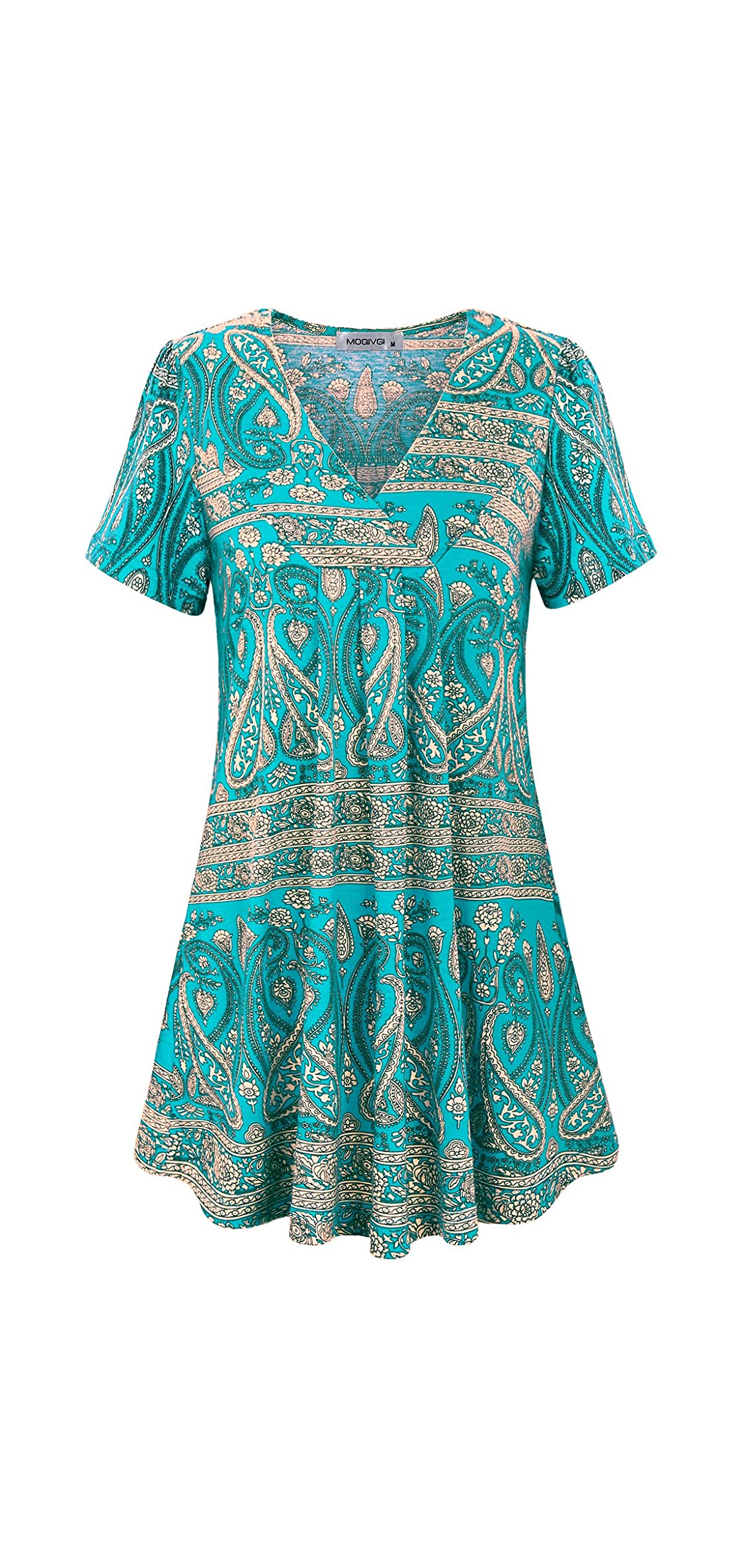 Womens V Neck Printed Loose Fit Casual Blouse Top Tunic