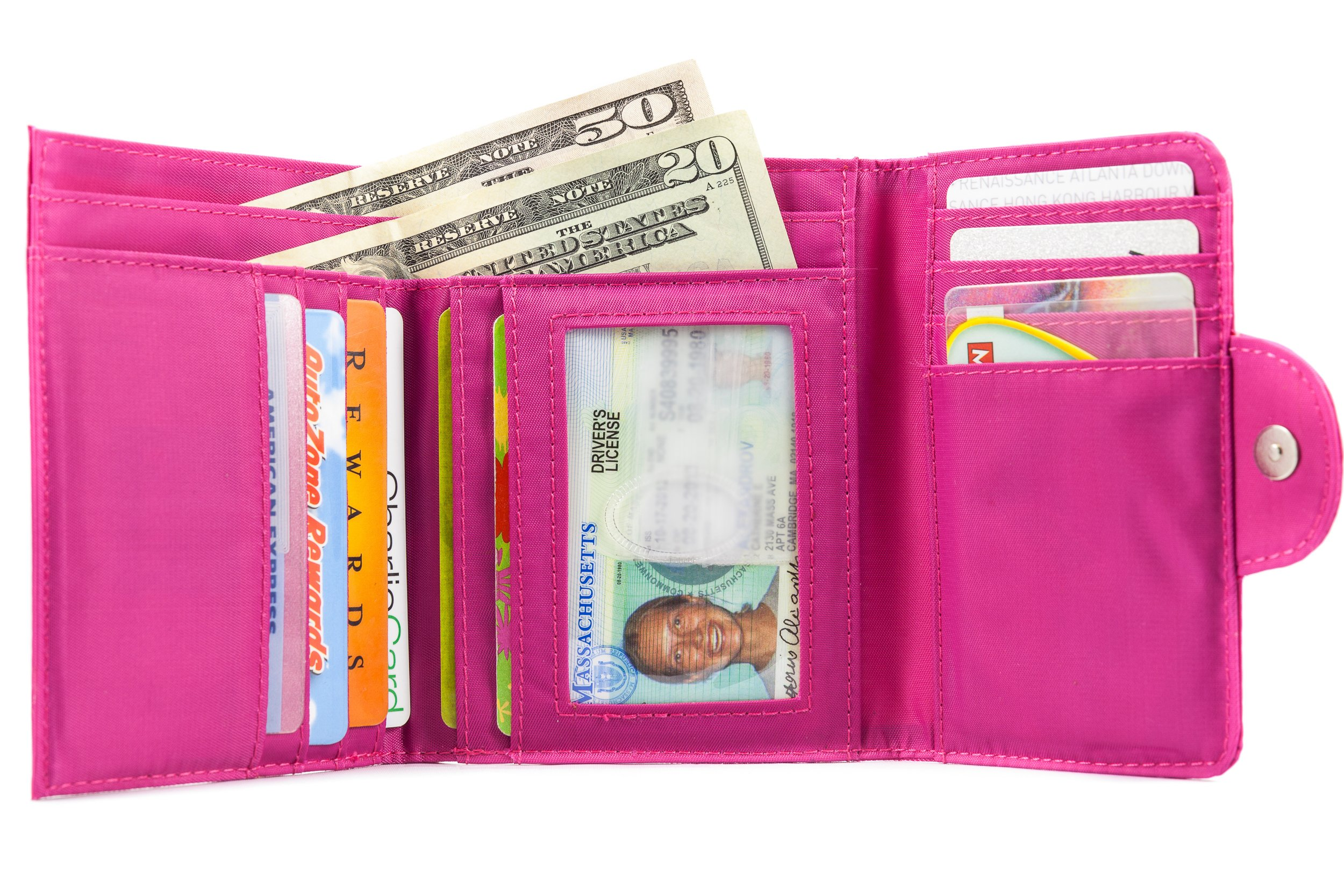Big Skinny Women's Trixie Tri-Fold Wallet, Holds Up to 30 Cards, Fuchsia